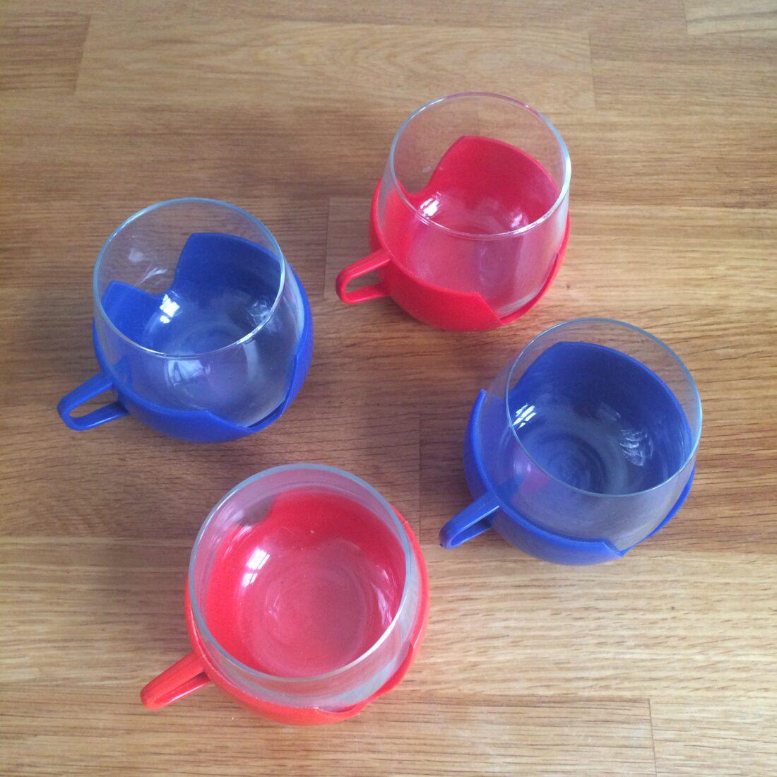 Vintage theeglazen set blauw rood oranje