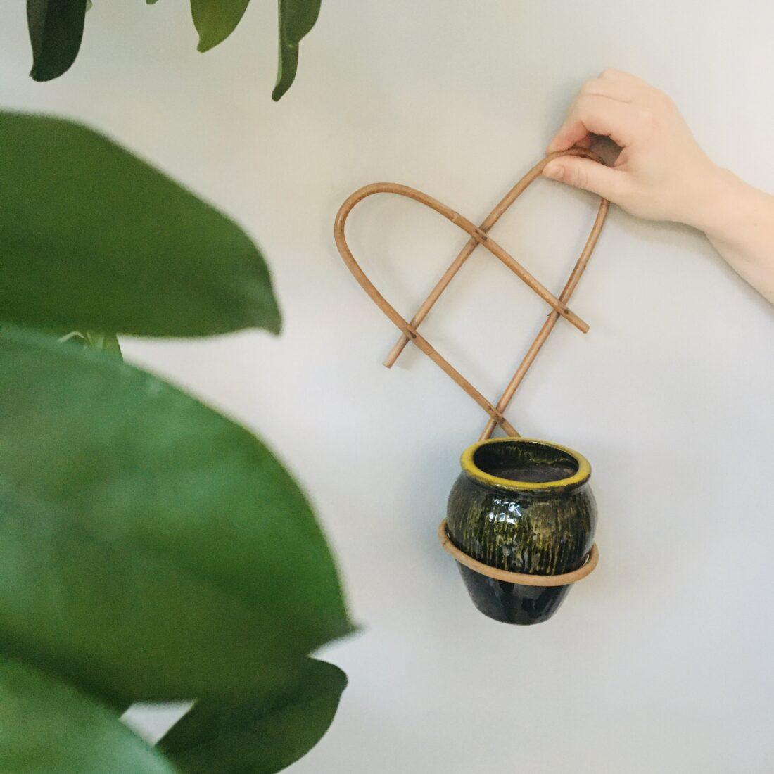 Vintage rotan plant wandhanger