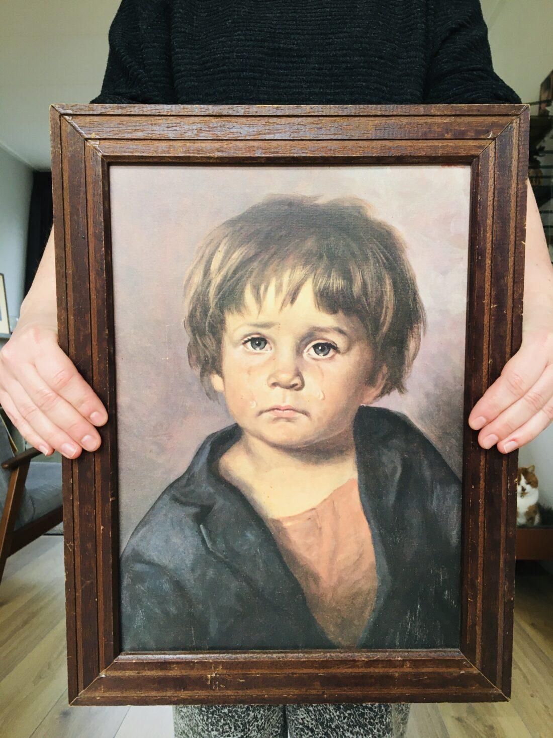 Vintage Bragolin huilend kindje schilderij