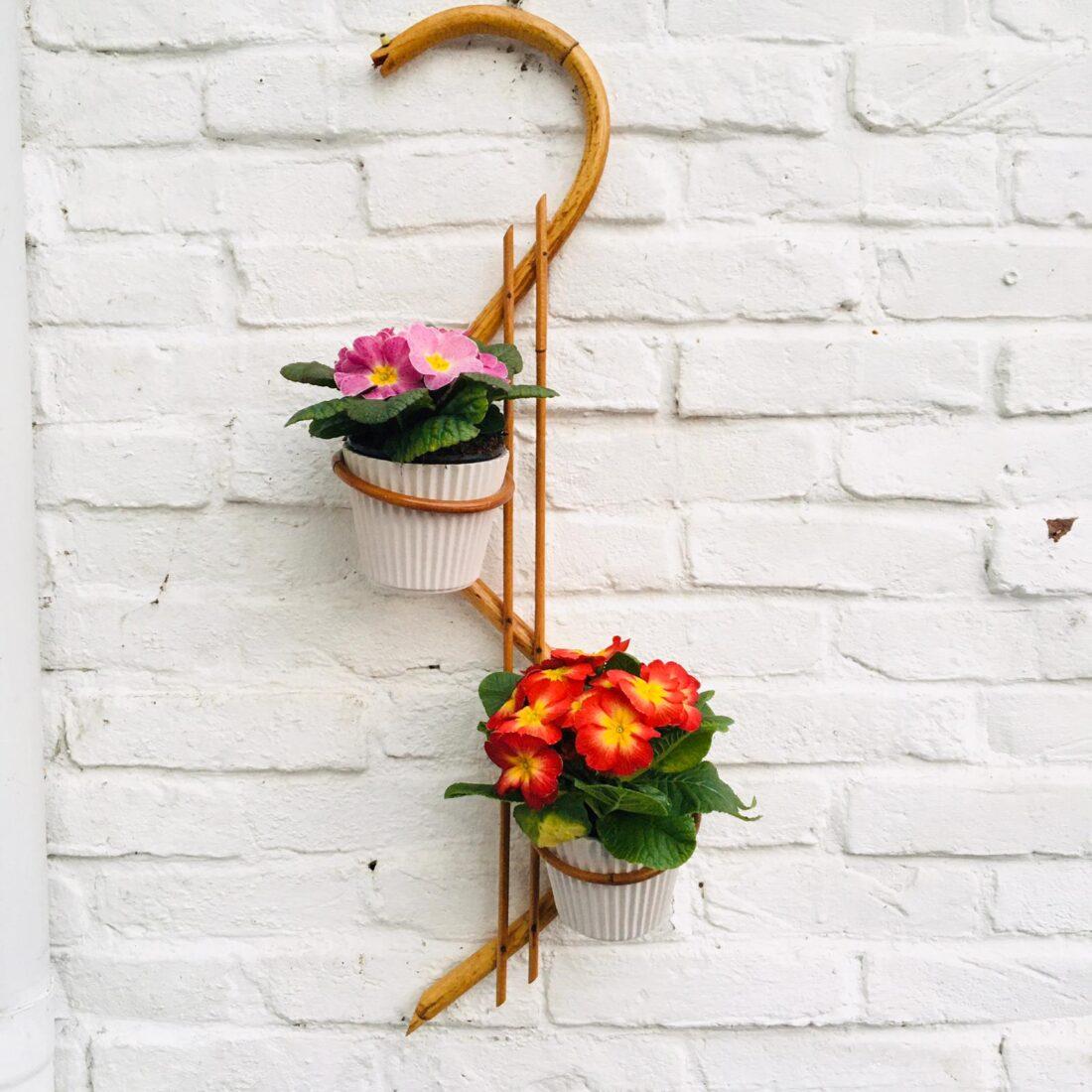 Vintage rotan plantenhanger slang