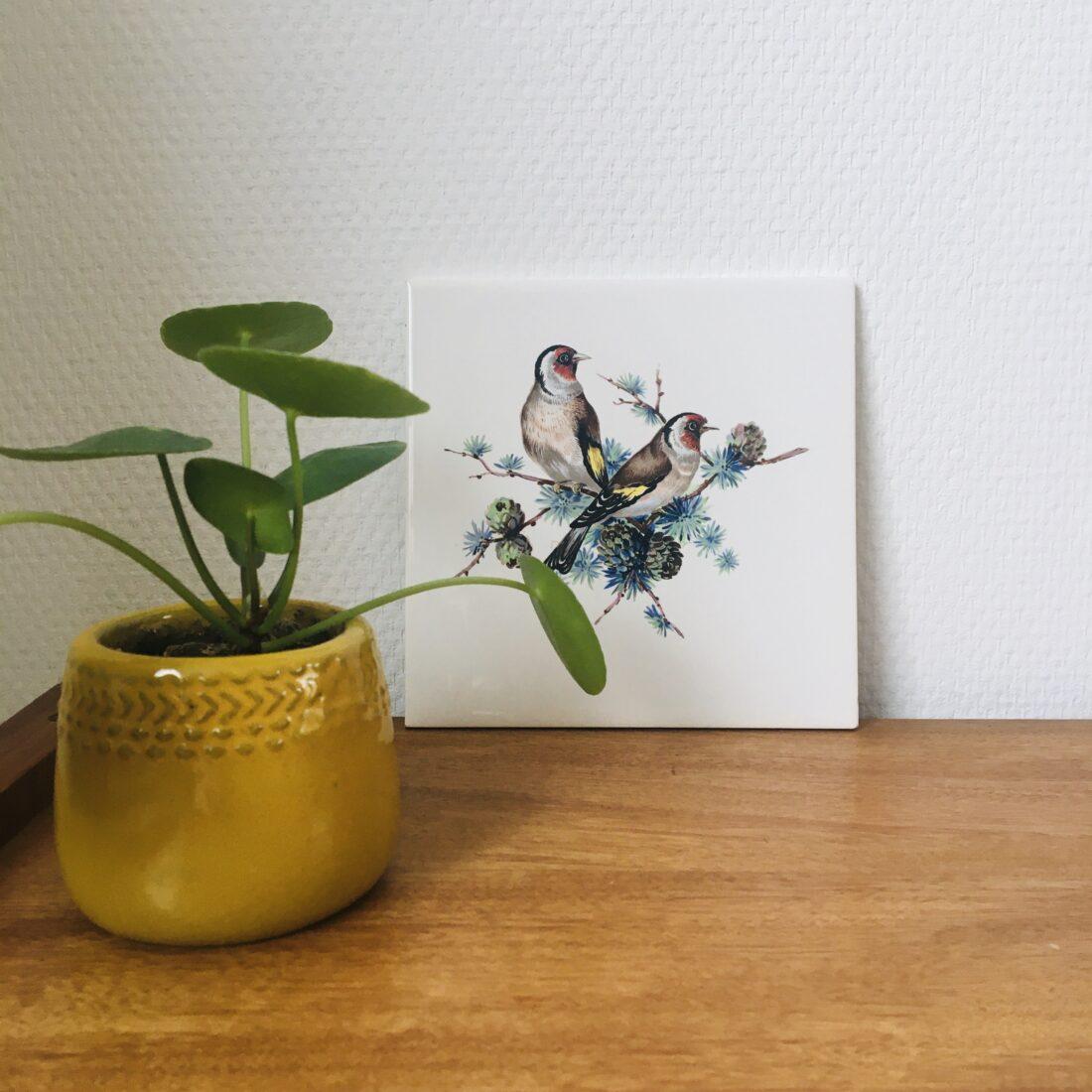 Vintage Villeroy en Boch tegel vogels