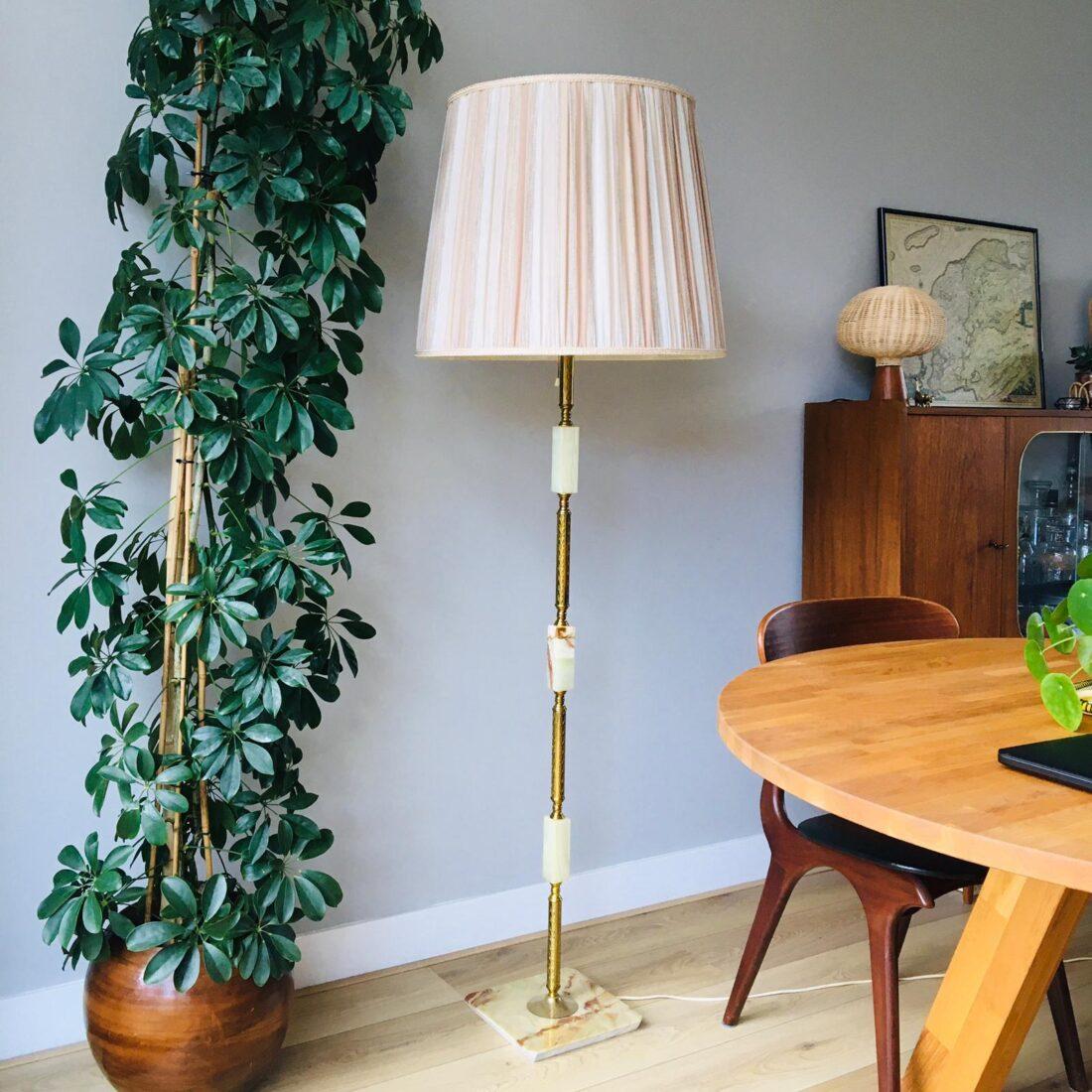 Vintage Vloerlamp Marmer messing