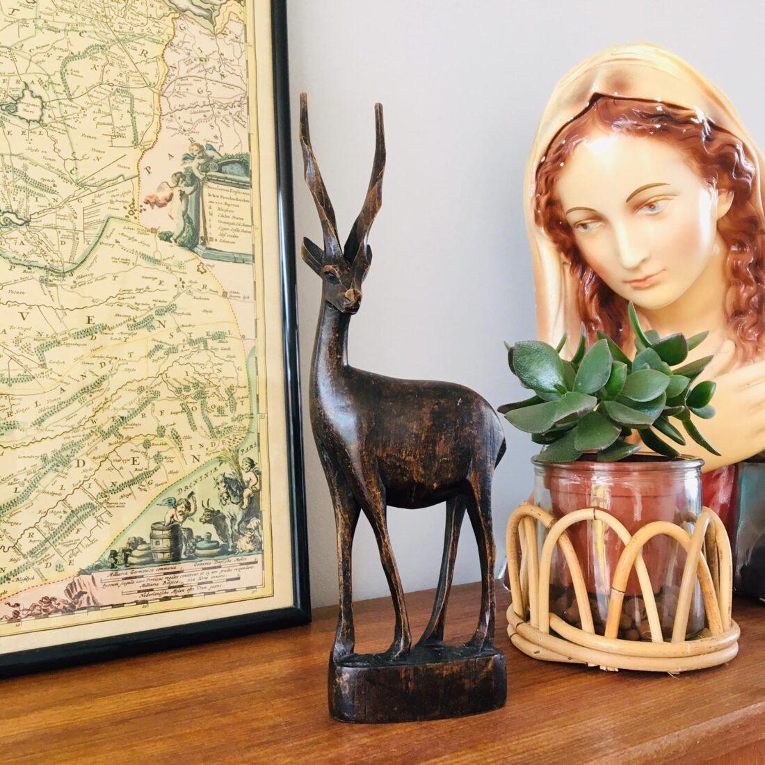 Vintage houten hertje/antiloper