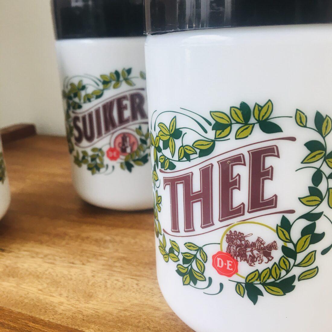 Vintage Douwe Egberts koffie thee suiker voorraadpot