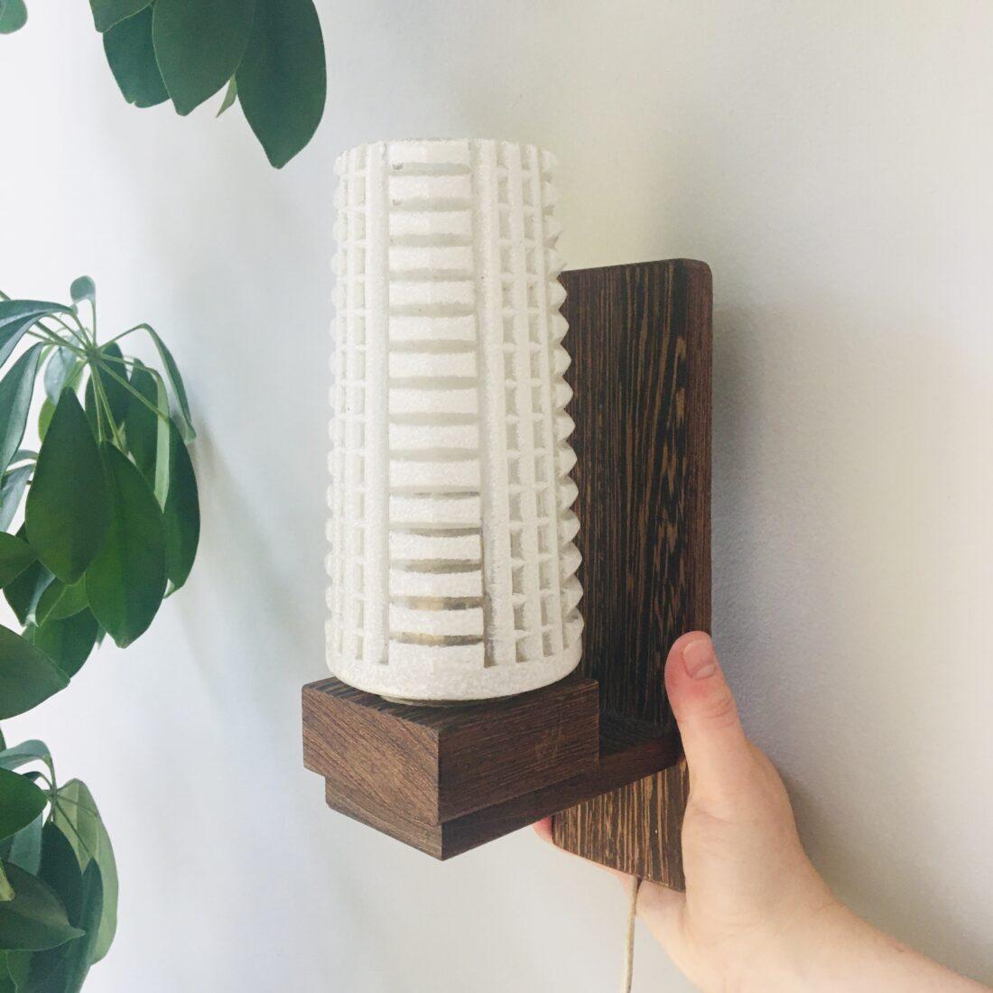 Vintage wandlamp hout melkglas