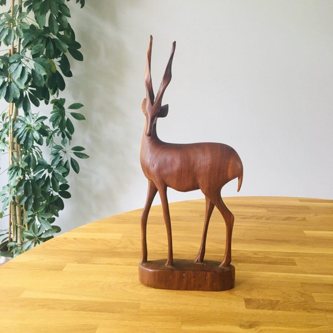 Vintage teakhouten hert antiloper