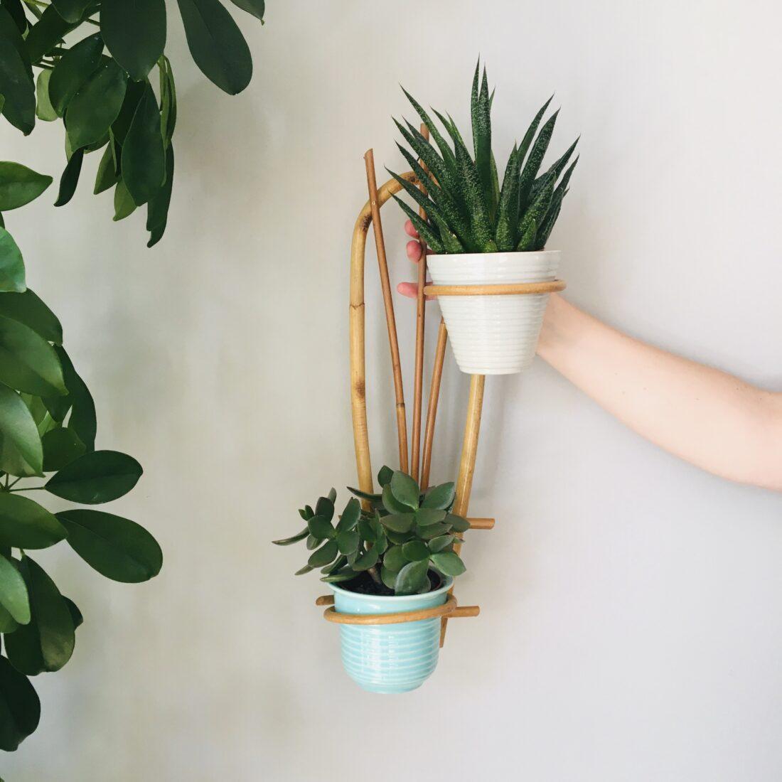 Vintage Rotan plantenhanger