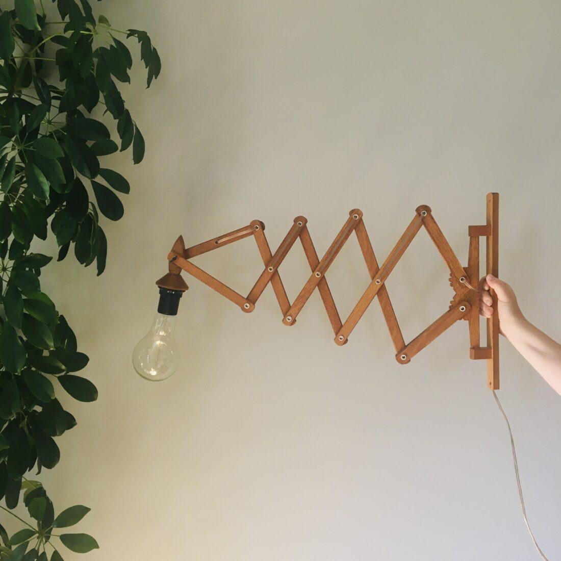 Vintage houten schaarlamp