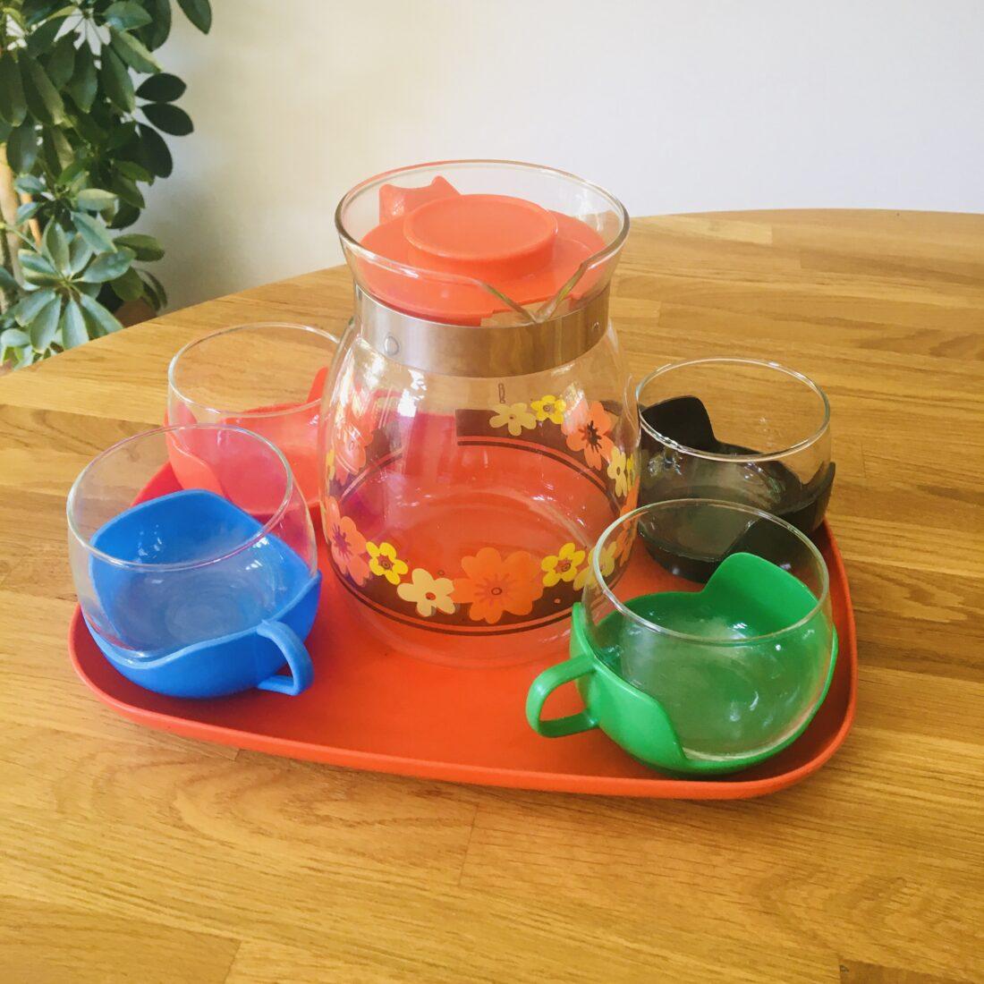 Vintage theeset glazen en theepot